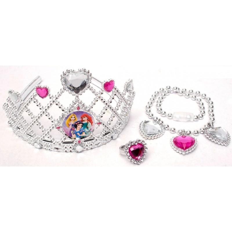 Set diadema si bijuterii argintii (3 piese) Disney - Alba ca Zapada, Ariel si Rapunzel